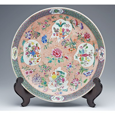 Large Chinese Famille Rose Dish, Apocryphal Qianlong Mark, Late Qing or Republic Period