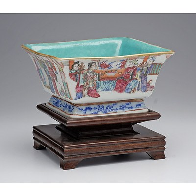 Chinese Famille Rose Square Bowl with Turquoise Interior, Tongzhi Seal Mark, Late 19th Century