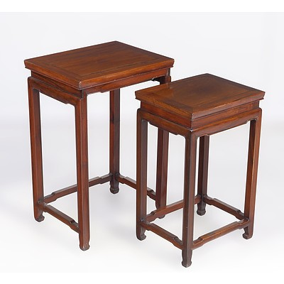 Two Chinese Rosewood Nesting Tables Mid 20th Century