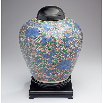Chinese Late Ming Wucai Large Jar Decorated with Lotus in Underglaze Blue, Late 16th/17th Century