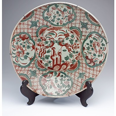 Chinese Late Ming Zhangzhou Swatow Ware Large Dish Decorated with Phoenix and Birds, Late 16th/17th Century