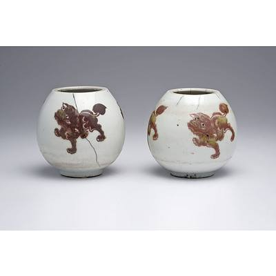 Rare Pair of Chinese Water Pots Decorated with Buddhist Lions in Underglaze Copper Red, Probably Kangxi Period, 18th Century