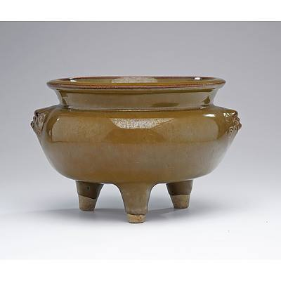 Chinese Teadust and Iron Glaze Tripod Censer with Lions Head Masks, Qing Dynasty, Possibly Shiwan Ware
