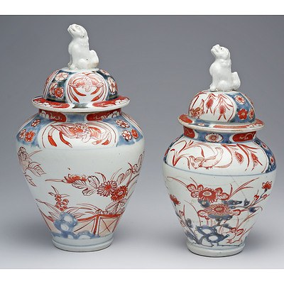 Near Pair of Early Japanese Imari Vases and Covers Circa 1720