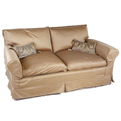 Pair of Bronze Coloured Silk Upholstered Lounges and Cushions