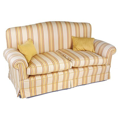 Two Seater Lounge with Striped Upholstery