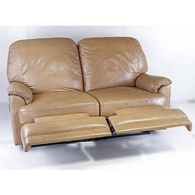 Moran Leather Two Seater Beige Leather Recliner Lounge