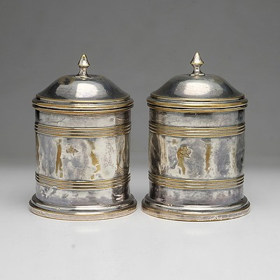 Pair of Antique Silver Plated Brass Humidors