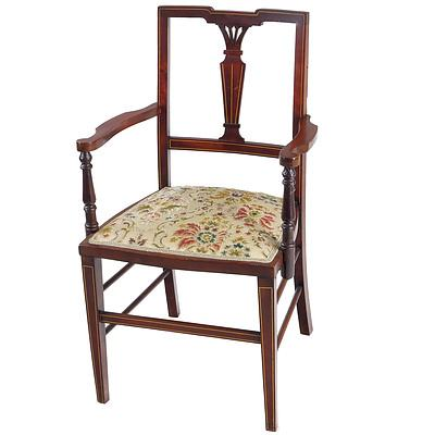 Sheraton Revival String Inlaid Mahogany Armchair, Early 20th Century, and Another Single Chair En Suite