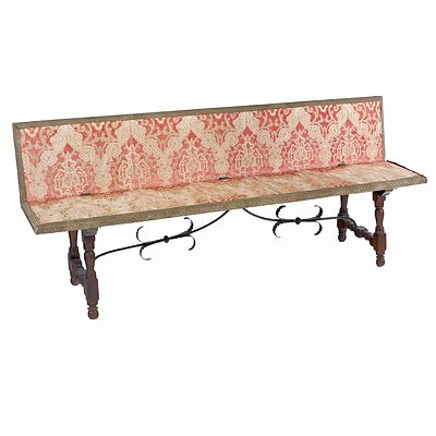 Antique Spanish Bench with Cut Velvet Upholstery and Iron Stretcher