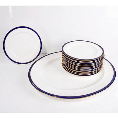 Sixteen Royal Worcester Leadless Glaze Cobalt Blue Plates and Serving Dish
