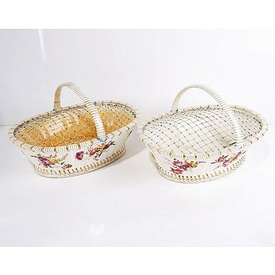Pair of 19th Century English Porcelain Cake Baskets