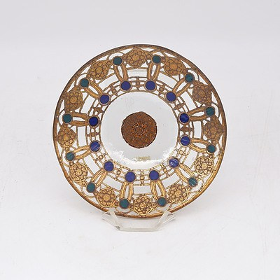 Peter Crisp Small Gilded and Enamelled Glass Dish and Stand