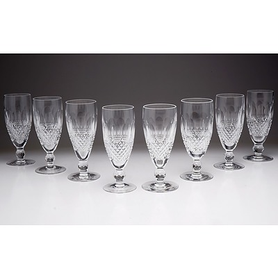 Eight Waterford Crystal Champagne Flutes