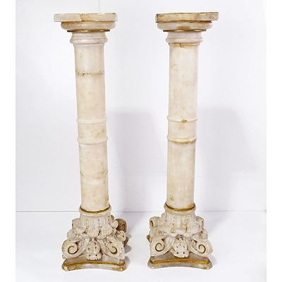 Pair of Antique Carved Classical Alabaster Columns