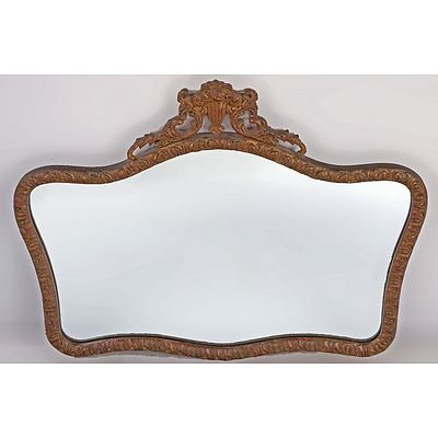 Vintage Mirror with Carved Wood and Moulded Gesso Frame