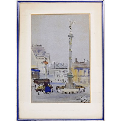 Moya Dyring (1908-67) Paris, Watercolour and Ink