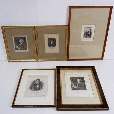 Group of Framed Antiquarian Portrait Engravings