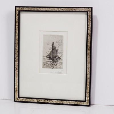 Alfred Coffey (1869-1950) Sail Boat, Etching