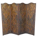 Large Vintage Embossed Parchment, Fabric, and Brass Studded Leather Trimmed Fourfold Screen