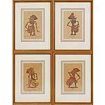 Group of Four Framed Indonesian Puppet Series Including Kresna, Abijasa of Wjasa, Sangkoeni of Sakoeni and Karna