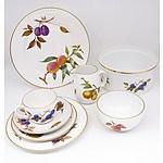 Royal Worcester Evesham Gold Porcelain Dining Set for Twelve with Serving Ware