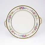 Hand Painted Limoges Porcelain Tray with Ormolu Rim