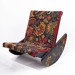Tapestry Upholstered and Painted Rocking Footstool