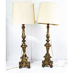 Pair of Carved Giltwood Torchere Table Lamps