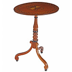 19th Century Satinwood Tripod Wine Table with Original Polychrome Painted Decoration