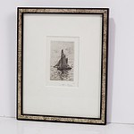 Alfred Coffey (1869-1950) Sail Boat, Etching