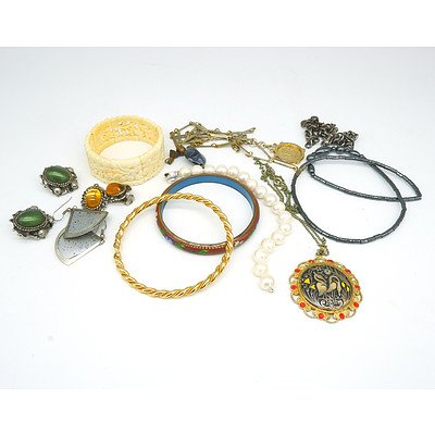 1928 Collection Posion Vessle Necklace, Cloisonne Bracelet and Various Jewellery