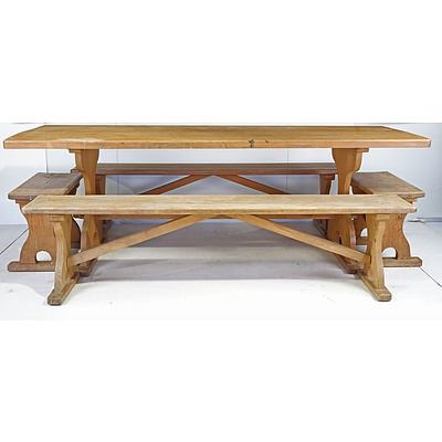 Weathered Pine Refectory Table with Four Bench Seats
