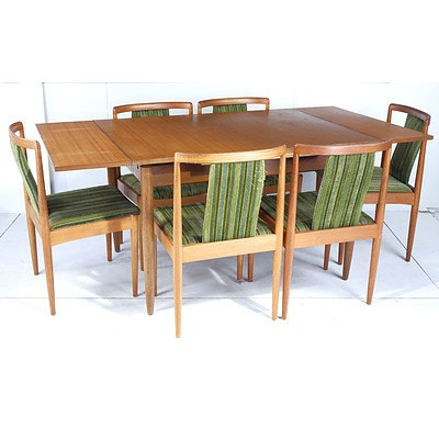 Retro Teak Extendable Dining Table with Six Upholstered Dining Chairs