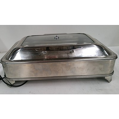 Rectangular Chafing Dish with Glass Lid & Electric Warmewr