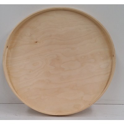 Round Wooden Serving Trays - Lot of 4