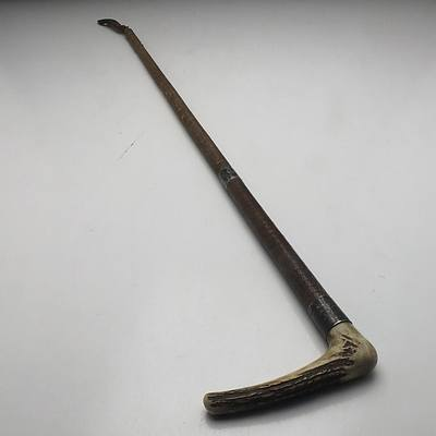 """Antler and Sterling Silver Mounted Riding Crop Monogrammed """"MJW"""", Birmingham"""