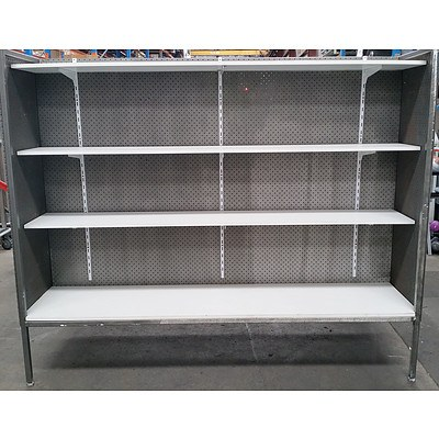 One Bay of Dual Sided Commercial Pegboard Shelving