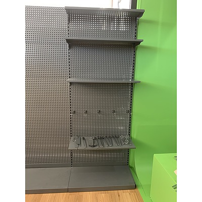 Pegboard Shelving - Grey - Lot of 7 Bays