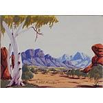 Gabriel Namatjira (1941-1969) Central Australian Landscape, Watercolour