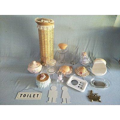 Assorted bathroom storage items