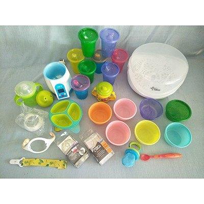 Sterliser, bottle warmer and assorted baby feeding items