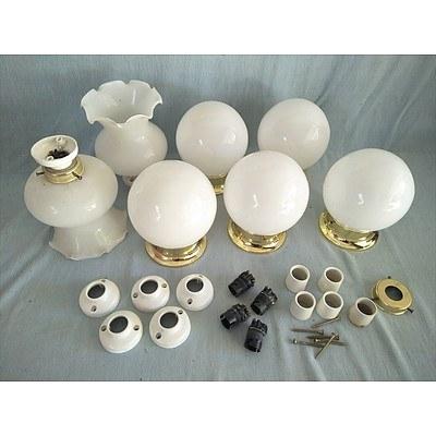 7 white glass ceiling light fittings