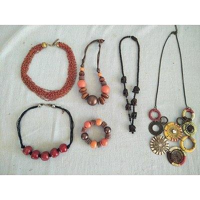 4 necklaces and one necklace & bracelet set
