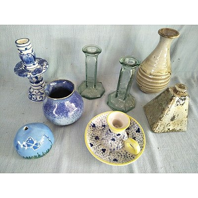 Assorted vases and candle holders