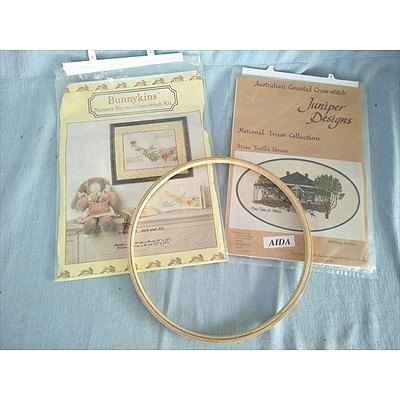 Cross stitch hoop and kits