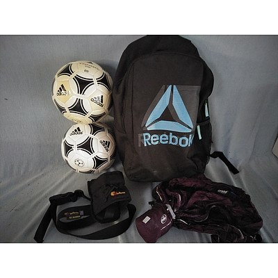 Adidas soccerballs and Assorted sporting items