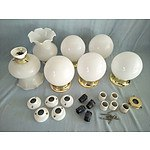 7 white glass ceiling light fittings