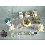 Assorted candles, candlestick holders, vases and lidded bowl