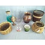 Assorted pots, vases and basket